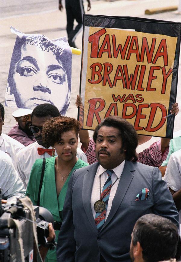 Tawana Brawley and the Rev. Al Sharpton at a protest in 1988.