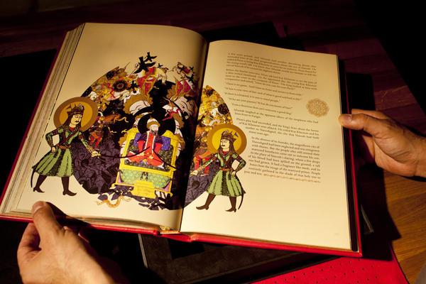 """In """"Afrasyab's Last Nightmare,"""" the Turanian king, who has been at war for centuries with the Iranians, has a terrifying dream that he will soon face his death. While editions of the <em>Shahnameh</em> have been illustrated for centuries, Rahmanian says that, for reasons unknown, the epic's dream and nightmare scenes have never been depicted before."""