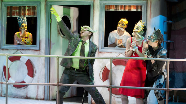 <strong>Who's That Masked Marge?</strong> Jennifer R. Morris (left), with Sam Breslin Wright, Gibson Frazier, Colleen Werthmann and Susannah Flood, in the third act of <em>Mr. Burns: A Post-Electric Play,</em> a <em>Simpsons</em>-inspired fantasia of loss and remembrance by Anne Washburn.