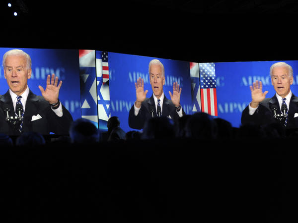 Vice President Joe Biden, projected on screens, gestures as he addresses the American-Israeli Public Affairs Committee (AIPAC) 2013 Policy Conference in March.