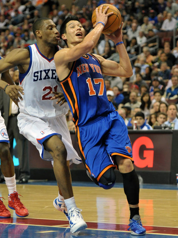 Jeremy Lin drives to the basket during a March 2012 game against the Philadelphia 76ers.