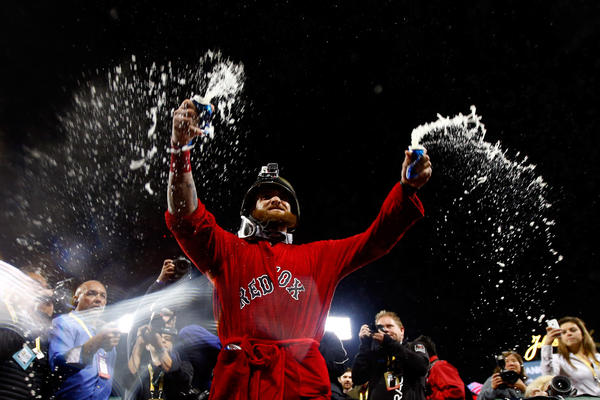 Jonny Gomes of the Boston Red Sox celebrates after defeating the Detroit Tigers in Game Six of the American League Championship Series at Fenway Park on Sunday.