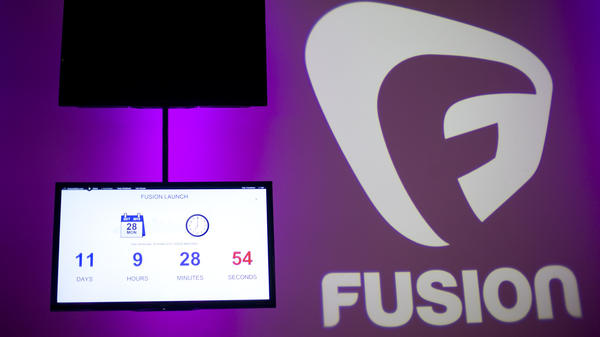 A countdown clock at Fusion's Miami studio tracks the time until the network's Monday launch.