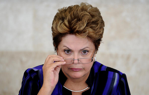 Brazilian President Dilma Rousseff takes part in the meeting of the Economic and Social Development Council, at Planalto Palace, in Brasilia, on February 27, 2013.