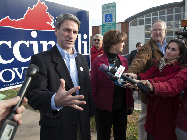 Ken Cuccinelli, the Republican nominee for Virginia governor, speaks with the news media after casting his ballot in Nokesville, Va., on Tuesday.