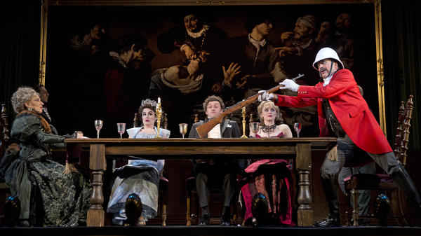 Jefferson Mays (in red) is gunning for trouble in <em>A Gentleman's Guide to Love and Murder, </em>one of this fall's bumper crop of terrific new shows on Broadway and off.