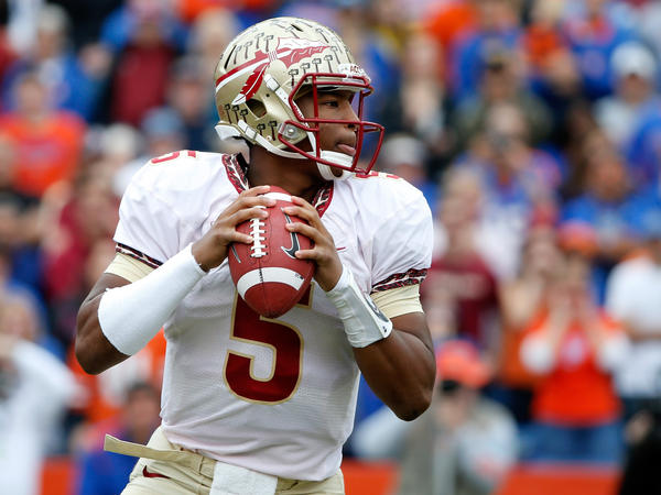 Jameis Winston of the Florida State Seminoles attempts a pass during the game against the Florida Gators on Nov. 30.
