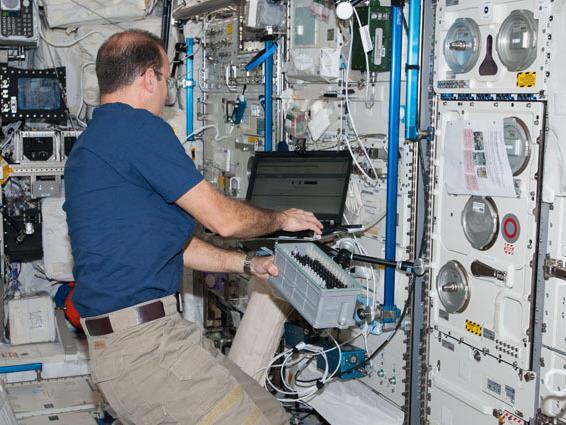 Flight Engineer Rick Mastracchio in the International Space Station's Columbus lab last month.