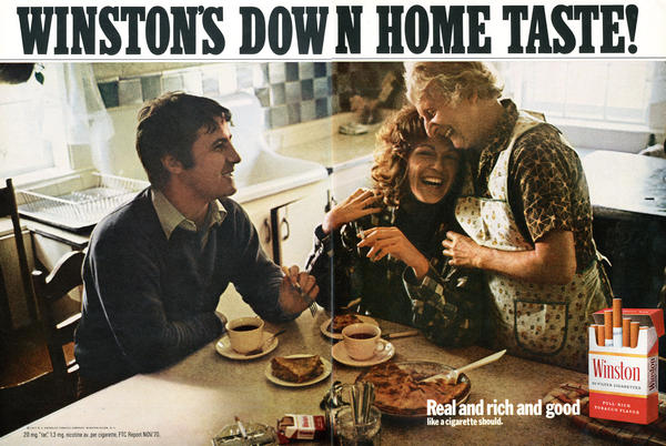 Years after the 1964 surgeon general's report on smoking, tobacco companies continued to downplay the dangers of smoking in their ads, such as this one from Winston in 1970.