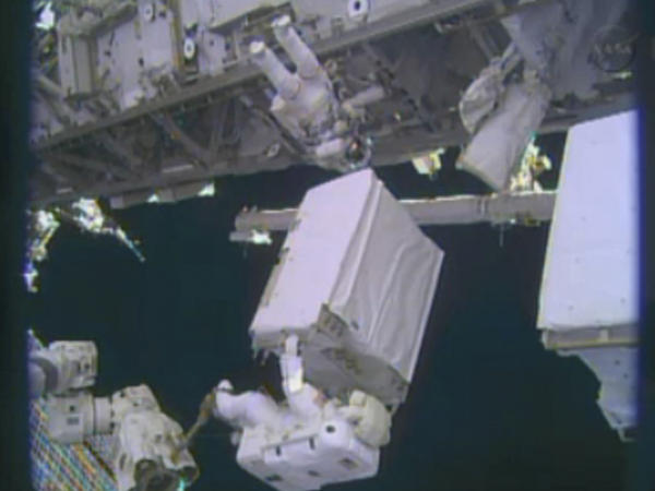 Astronauts Mike Hopkins and Rick Mastracchio replace a pump on the International Space Station during a spacewalk last month.