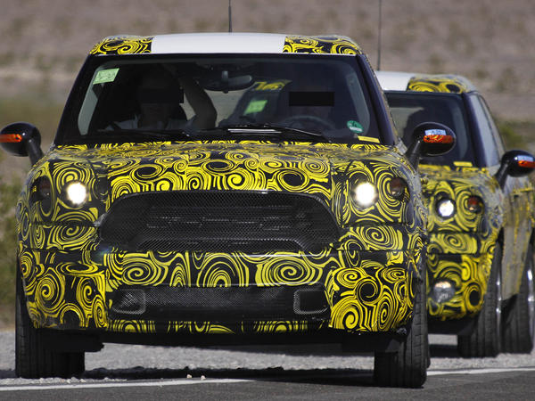 The pattern used on these camouflaged Minis helps hide the contours and lines of the new designs.