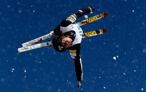 Emily Cook trains in aerials for the Visa Freestyle International in Park City, Utah, last February.