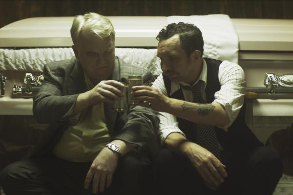 Hoffman (left) and Eddie Marsan, in a scene from the film <em>God's Pocket, </em>released in January.