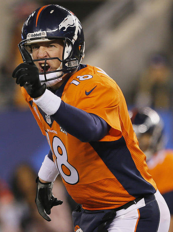 Denver Broncos quarterback Peyton Manning during Sunday's Super Bowl. Some players on the Seattle Seahawks say they studied his hand signals. That helped them shut down the Broncos defense, they say.