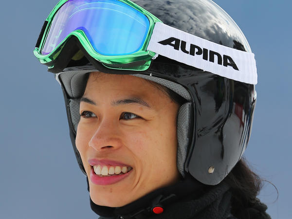Violinist-turned-Olympian Vanessa-Mae checks out her fellow skiers in Sochi, Russia on Feb. 10.