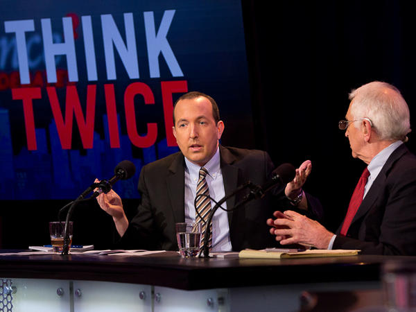 """Ben Wizner (left) and Daniel Ellsberg argue in favor of the motion """"Edward Snowden Was Justified"""" in an Intelligence Squared U.S. debate on Feb. 12."""