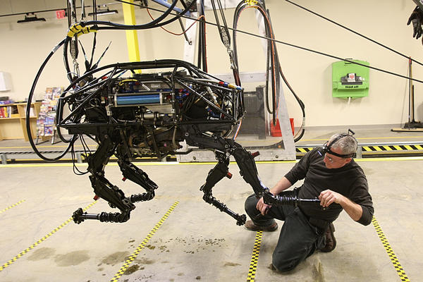 A BigDog robot at Boston Dynamics in 2010. The BigDog is being developed to help soldiers carry heavy equipment in the field. It can follow a human being, walking across wet, sandy or rocky terrain, just like a dog would.