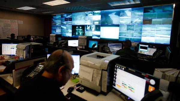 The Border Patrol communications center in Laredo, Texas, has no windows but plenty of monitors.
