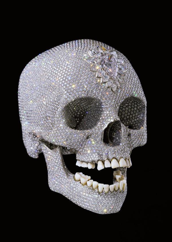 <em>For the Love of God</em>, by British artist Damien Hirst, shows a diamond-encrusted human skull and was unveiled in 2007.