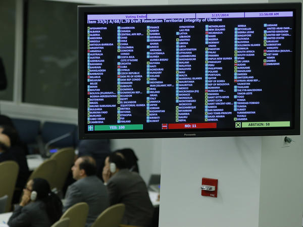 A screen shows the vote of delegates in the General Assembly on a draft resolution on Ukraine at U.N. headquarters in New York on Thursday.