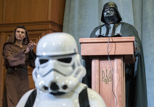 A man dressed as Darth Vader announced his candidacy for office, representing the Internet Party of Ukraine. The dark lord spoke at his party's conference in Kiev on Saturday.