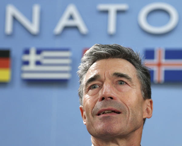 NATO Secretary General Anders Fogh Rasmussen looks on at the start of a NATO foreign ministers meeting at the Alliance headquarters in Brussels on Tuesday.