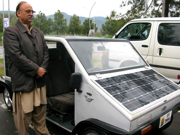 Pakistani businessman Aslam Azad spent $500,000 of his own money to develop a solar car that he hopes will help solve the country's gas crisis. Currently, it can travel about 50 miles before recharging.