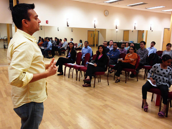 """Engineer Mit Shah gives a speech at a meeting of the """"ArtICCulators"""" Toastmasters Club in Milpitas, Calif."""