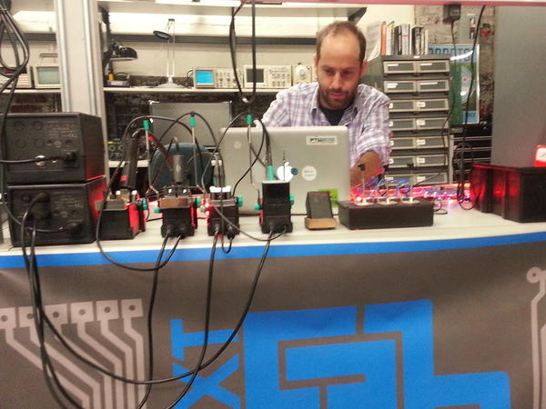 A member works in the electronics lab at NextFab Studios in Philadelphia. Members pay for access to computers and high-end machines like laser cutters and 3-D printers.