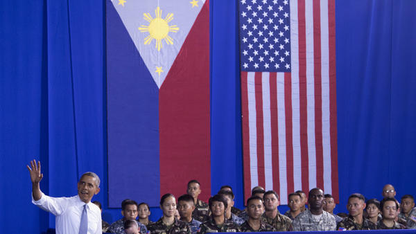 President Obama was at Fort Bonifacio in Taguig, Philippines, on Tuesday, during the last leg of his four-nation tour through the Asia-Pacific region.