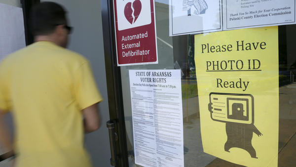 An Arkansas voter enters an early-voting polling place on May 5.