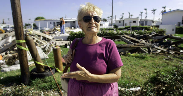 Barbara Cassidy stands in front of her Davie, Fla., mobile home one month after Hurricane Wilma destroyed her home in 2005. Wilma was the last major storm to make landfall in the U.S.