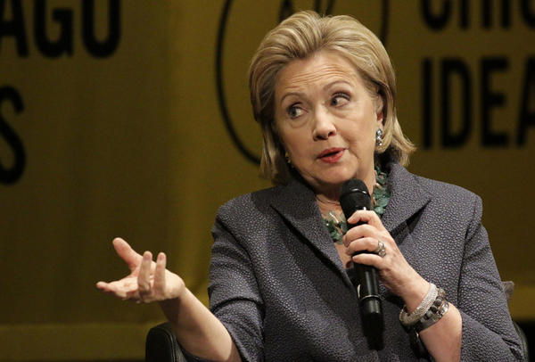 Hillary Clinton promotes her new book, <em>Hard Choices</em>, in Chicago on Wednesday. The former senator and secretary of state had a lively and much-talked-about chat this week with <em>Fresh Air</em>'s Terry Gross.