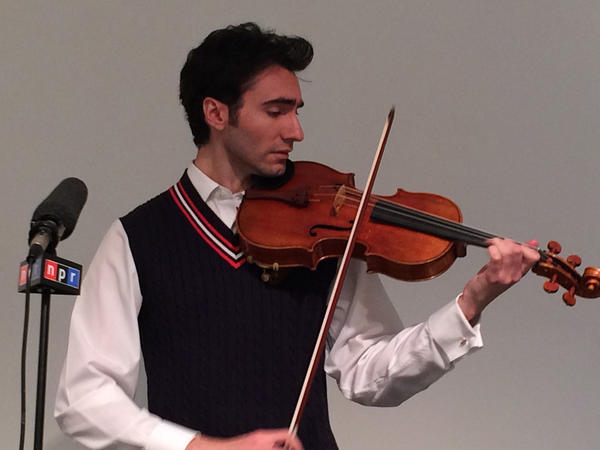 David Aaron Carpenter plays the 'Macdonald' Stradivarius viola at Sotheby's auction house for NPR in April.