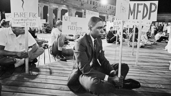 Mississippi Freedom Democratic Party delegates and supporters stage a demonstration on the boardwalk in front of the Atlantic City Convention Center in 1964.