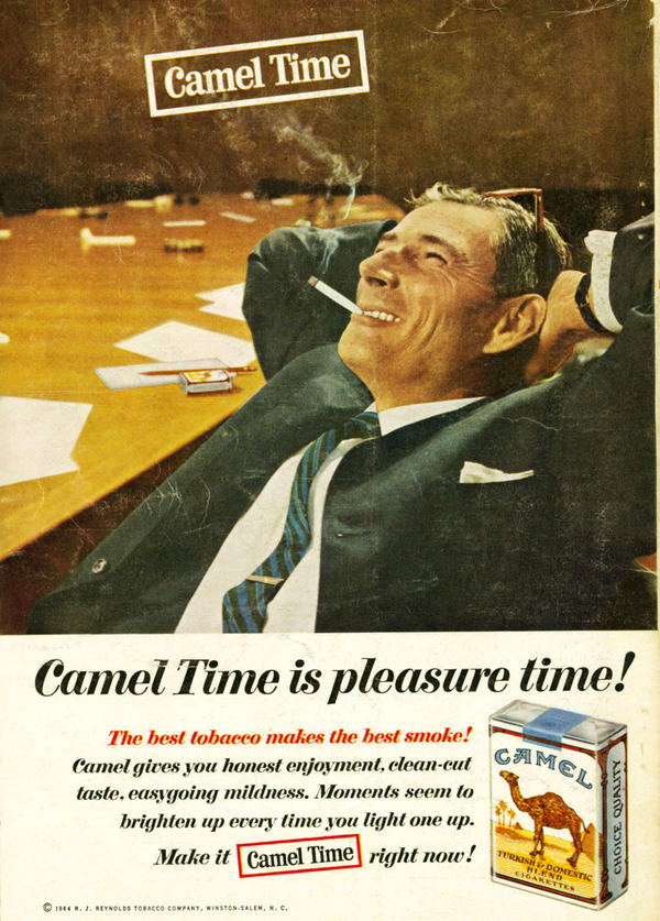 Camel marketed smoke breaks at work as time spent relaxing instead of stressing. Camel, 1964.
