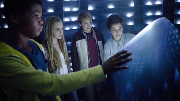 """In <em>Earth to Echo,</em> Brian """"Astro"""" Bradley, Ella Wahlestedt, Reese Hartwig and Teo Halm play a group of kids whose neighborhood is being destroyed by a highway construction project, forcing their families to move."""