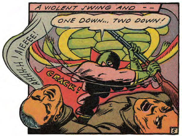 The Green Turtle's swinging arm obscures his face in this panel from <em>Blazing Comics</em>.