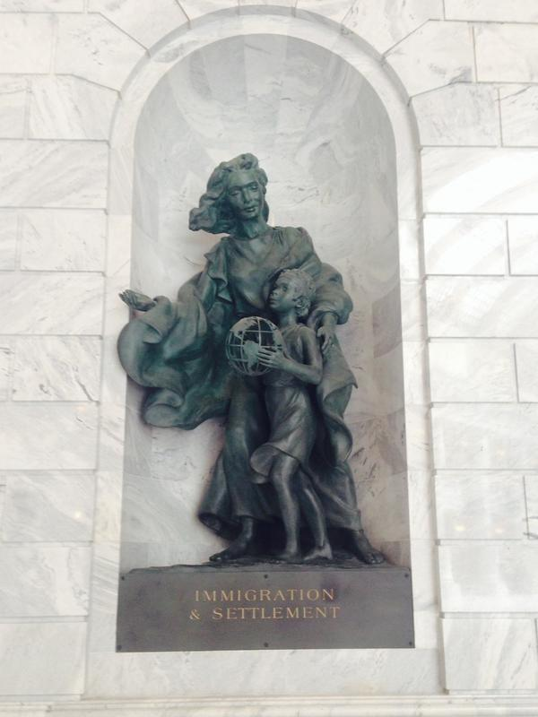 "This statue is located in Utah's Capitol building, beneath a mural of Brigham Young and the first Mormon pioneers traveling out west. ""Utah is a place that understands the value of immigration,"" says Utah's speaker of the House, Becky Lockhart."