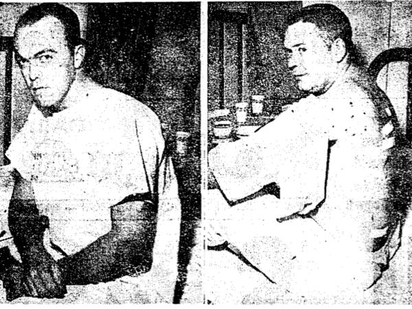 """News outlets in 1962 paired this image of injured police officers <a href=""""http://www.npr.org/assets/news/2014/08/kinloch-shooting.pdf"""">with a story</a> about the aftermath of a riot in a St. Louis suburb."""