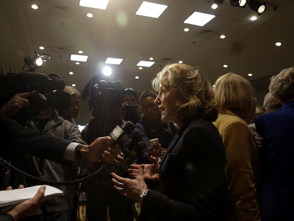 Sen. Kay Hagan, D-N.C., takes questions from the media in April during an appearance in Durham. Hagan has tried for her first 5 1/2 years in the U.S. Senate to convince North Carolina voters that being in the middle of the road is a good thing.