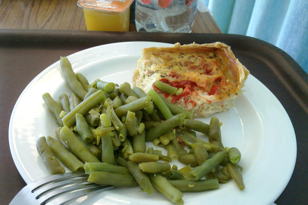 "<strong>U.K.: </strong>""The food was cooked for a longer amount of time than I would have done it, but not bad,"" Charles Hutchins, also known on Flickr as celesteh, wrote via Flickr Mail of the green beans and quiche he was served in a London hospital."