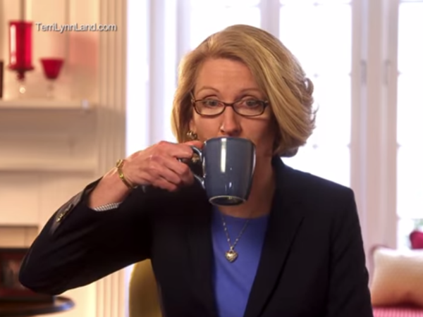 """In this campaign ad, GOP candidate Terri Lynn Land sips coffee after asking the viewer to """"think about"""" accusations that she's waging a war on women."""