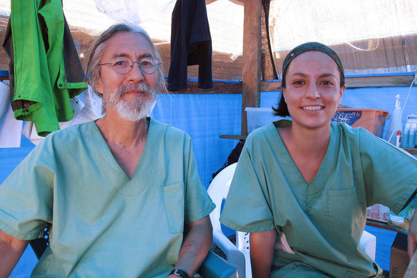 Dr. Cedric Yoshimoto of Volcano, Hawaii, and Dr. Citlali Barba of Mexico City have spent three weeks treating Ebola patients at the clinic in Foya, Liberia, run by Doctors Without Borders.