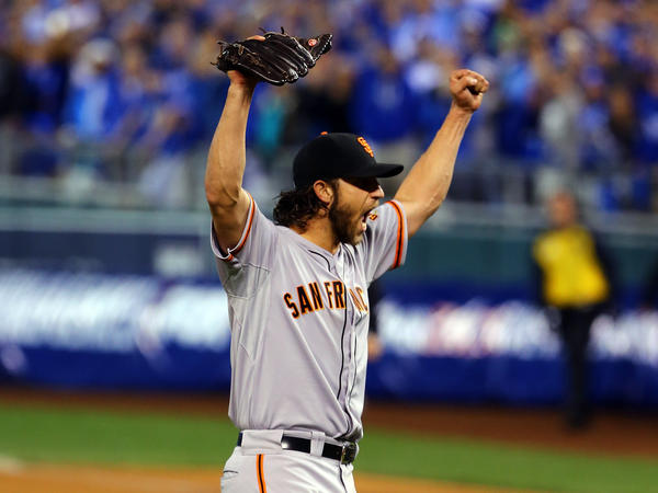 Madison Bumgarner celebrates after the San Francisco Giants defeated the Kansas City Royals in Game 7 to win the 2014 World Series.