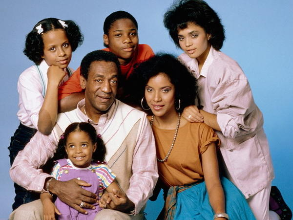 Bill Cosby with the cast of his hit sitcom<em> The Cosby Show: </em>Tempestt Bledsoe (clockwise from top left), Malcolm-Jamal Warner, Lisa Bonet, Phylicia Rashad and Keshia Knight Pulliam.