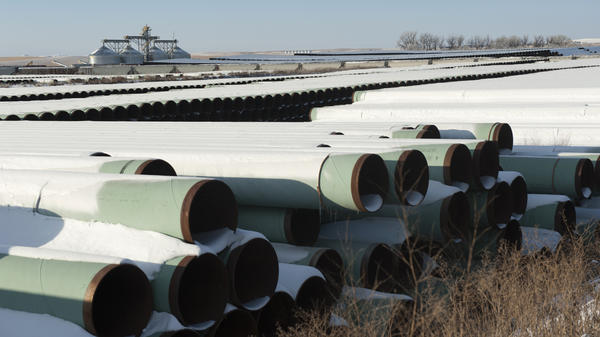 Pipes for TransCanada's planned Keystone XL pipeline are stored in Gascoyne, N.D. The U.S. House has voted to approve the proposed project, which would allow crude oil to flow from Canada to the Gulf of Mexico. The Senate plans to vote Tuesday on legislation that would greenlight the project.