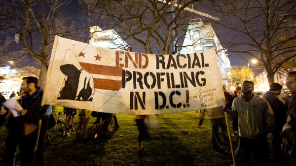 Protesters gather Tuesday in Mount Vernon Square in Washington.