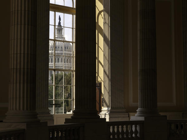 The US Capitol building as seen from the Cannon House Office Building in Washington.