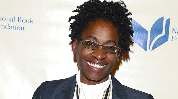 Jacqueline Woodson, pictured here at the National Book Awards ceremony last month, won the young people's literature prize for her memoir in verse, <em>Brown Girl Dreaming.</em>